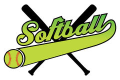 Softball With Banner and Ball. R is an illustration of a softball design with a softball, bats and text. Includes a tail or ribbon banner for your own team name stock illustration
