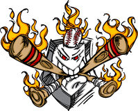 Softball Baseball Plate Flaming Cartoon Logo. Baseball Softball Flame Plate Face On Fire Illustration Vector Royalty Free Stock Photography