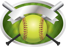 Softball and Bat Emblem Banner Illustration. An illustration of a softball and bats on a emblem background. Vector EPS 10 available. EPS contains transparencies stock illustration