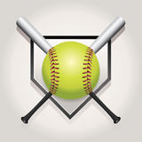 Softball, Bat, and Homeplate Emblem Illustration. An illustration of a softball, bat, and home plate. Vector EPS 10 available. EPS file contains transparencies royalty free illustration