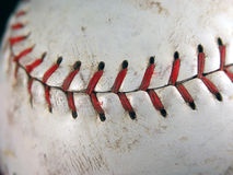 Softball closeup of stitching. Summer pastime in USA a good game of softball. Stitch detail of used ball stock photo