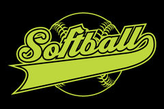 Softball Design With Banner. Is an illustration of a softball design with a softball and text. Includes a tail or ribbon banner for your own team name or other royalty free illustration