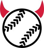Softball with devil horns. Vector stock illustration