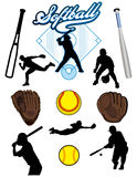 Softball Elements. A collection of illustrated softball elements. Batts, balls, athletes, mitts or gloves Royalty Free Stock Photos