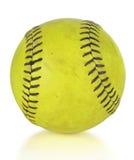 Softball eller softball över vit bakgrund Fotografering för Bildbyråer