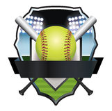 Softball Emblem Badge Illustration royalty free illustration