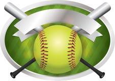 Softball en de Bannerillustratie van het Knuppelembleem Stock Afbeeldingen