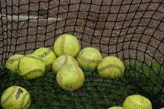Softball en red del bateo Fotos de archivo