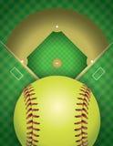 Softball-Feld-und Ball-Hintergrund-Illustration Stockfotografie