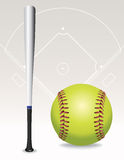 Softball Field, Ball, Bat Illustration Stock Photo