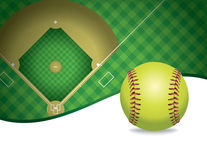 Softball and Field Copyspace Illustration royalty free illustration