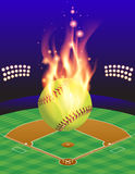Softball Field and Fire Background. An illustration of a flaming softball above an aerial view of a softball field. Vector EPS 10 available. EPS contains Stock Image