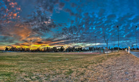 Softball field view from foul territory. Royalty Free Stock Images
