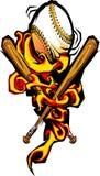 Softball flamejante e bastões do basebol Imagens de Stock Royalty Free