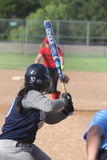 Softball. Game action Batter preparing to swing at pitch Royalty Free Stock Photography
