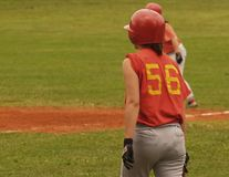 Softball/Geconcentreerde Meisjes Royalty-vrije Stock Foto's