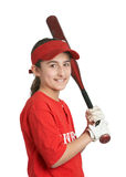 Softball girl. Smiling preteen sports girl in softball uniform Royalty Free Stock Photos