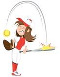 Softball girl. Illustration of young girl playing softball Royalty Free Stock Photos
