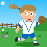 Softball Girl in the Park. Kids and sport series: a girl playing softball in a park. Eps file available stock illustration
