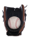 Softball glove and ball. Studio cutout Royalty Free Stock Photo