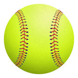 Softball isolated on white. Vector illustration. Softball, yellow with red stitching on a white background stock illustration
