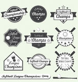 Softball League Champion and All Star Labels. Collection of baseball league champion and all star labels and stickers Stock Images