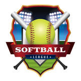 Softball League Emblem Illustration Stock Photography