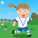 Softball-Mädchen im Park Lizenzfreies Stockfoto