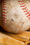 Softball in mitt stock photos