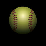 Softball op Zwarte In de schaduw gestelde Illustratie Als achtergrond Royalty-vrije Stock Foto