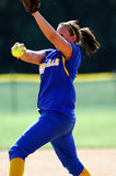 Softball pitcher. GLOUCESTER, NJ - MAY 25: The Pennsville High school ladies softball pitcher delivers a pitch in the NJSIAA playoff game May 25, 2010 in royalty free stock image