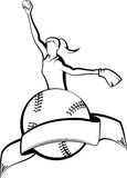 Softball Pitcher with Ball & Banner Royalty Free Stock Photography