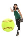 Softball Player. Playing the game of softball with a white background Royalty Free Stock Image
