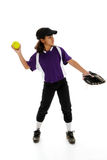 Softball Player. Playing the game of softball with a white background stock photos