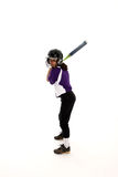 Softball Player. Playing the game of softball with a white background Stock Images