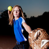 Softball Player with Ball and Mitt Royalty Free Stock Photography