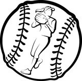 Softball Player Throwing In Ball Royalty Free Stock Image