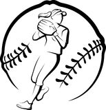 Softball Player Throwing in Stylized Ball Stock Photo