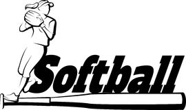 Softball Player Throwing with Text & Bat Royalty Free Stock Photography