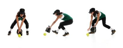 Softball Players. Playing the game of softball with a white background Stock Photos