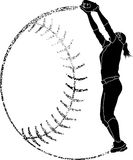 Softball-Schattenbild Fielder Catching Stockbild