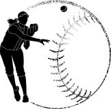 Softball-Schattenbild-Wurf Stockbilder