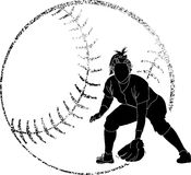Softball Silhouette Fielder Royalty Free Stock Image