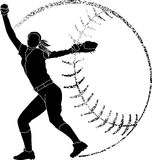 Softball Silhouette Pitcher Royalty Free Stock Photography
