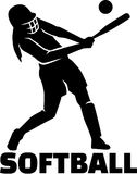 Softball silhouette with word. Vector vector illustration
