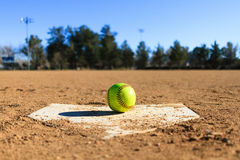 Softball in a softball field in California mountains Stock Image
