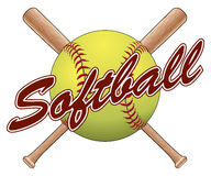 Softball Team Design. Is an illustration of a softball design with a softball, crossed bats and the word softball. Great for team t-shirts vector illustration