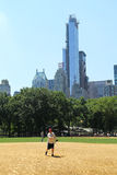 Softball teams playing at Heckscher Ballfields in Central Park Royalty Free Stock Photo