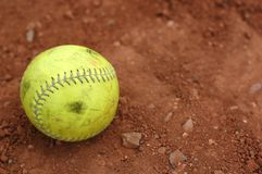 Softball, well used Royalty Free Stock Image
