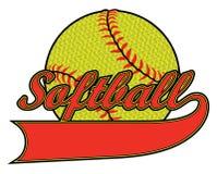 Softball Z sztandarem i Textured piłką Obrazy Royalty Free